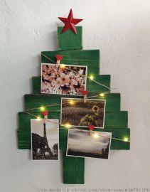 圣诞树装饰品相片墙玻璃工艺品LED灯饰欧美外贸