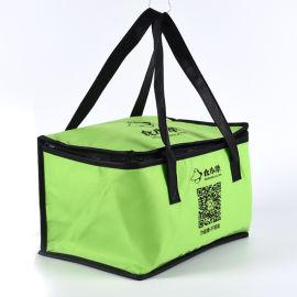 厂家定制logo绿色保温无纺布袋冰包手提食品外卖袋