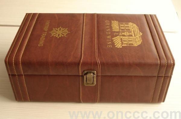 雙支木質紅酒皮盒,顏色豔麗!可根據客戶需要定製,歡迎詢價!