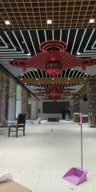 全金属铝格栅 木纹仿古铝格栅 红色吊顶铝格栅