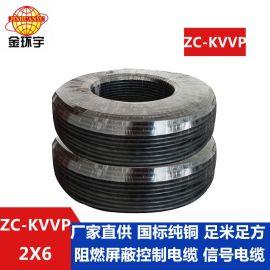 金环宇电线电缆 二芯阻燃屏蔽控制电缆ZC-KVVP2X6平方 国标电缆