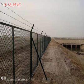 沃达供应河道防攀爬钢板网护栏网 水资源安全防护栏铁丝网