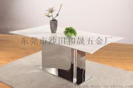 异形大理石不锈钢亮面底餐桌F875