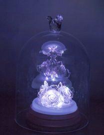 水晶玫瑰花愛的禮物 送女友 玫瑰花水晶旋轉音樂盒