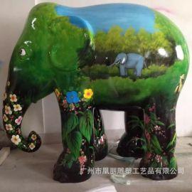 玻璃钢定制大象雕塑 玻璃钢彩绘雕塑 玻璃钢户外大象组合雕塑摆件