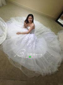 2017新款性感抹胸收腰显瘦铺床仙气公主蓬纱小拖尾新娘婚纱