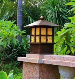 酒店小区大门石柱灯定制学校广场花园柱头灯方形中式批发仿古铜墙头灯