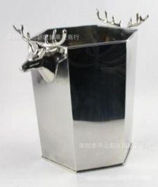歐式銀色不鏽鋼六角形鹿頭仔冰桶香檳桶紅酒啤酒KTV酒吧用具家用