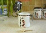 印刷青花瓷塑料密封罐 咖啡豆有機玻璃易扣罐