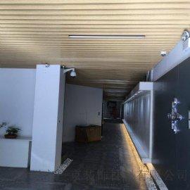 红木家具展厅铝方吊顶装饰-家具城U型铝方通吊顶