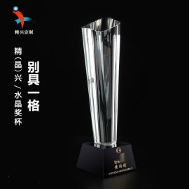 广州水晶纪念特色奖杯 水晶奖牌奖杯定做