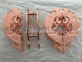 现代新中式铝板雕花仿紫铜大门拉手生产厂家