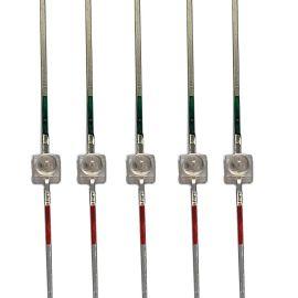 厂家直销小蝴蝶红绿双色灯珠透明球头加长支架连排直插发光二极管