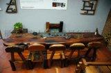 廠家直銷 3.4米老船木紅木茶桌組合套裝 茶桌茶臺茶幾組合套裝 時尚創意藝術個性化辦公家具 家裝家具 復古原生態實木中式家具組合套裝