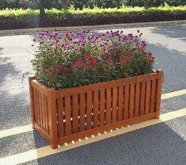 厂家批发长方形木质花箱 防腐木花箱 道路隔离花槽