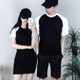 定做夏装新款韩版修身圆领qlz短袖T恤情侣装中长款女装撞色活动衫