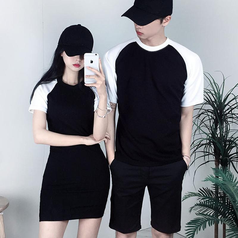 定做夏裝新款韓版修身圓領qlz短袖T恤情侶裝中長款女裝撞色活動衫