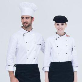 韩式白色长袖蛋糕店烘焙厨房工作服秋冬装餐厅饭店火锅店厨师制服