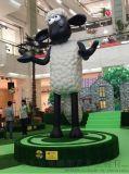 供应厂家直销 玻璃钢七彩小羊肖恩雕塑 现货就是任性 卡通动物雕塑