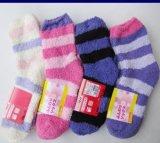 毛絨彩條女襪  地板襪  半邊絨短襪