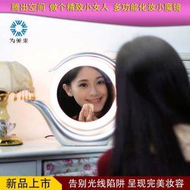 廠家直銷led化妝鏡臺式雙面鏡旋轉鏡7色可選歐美化妝鏡