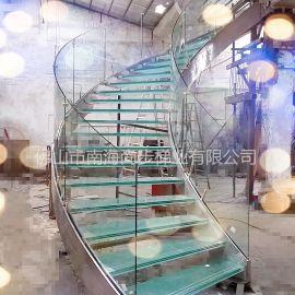 佛山尚步梯業 SBlt-068 弧型微旋轉不鏽鋼玻璃樓梯