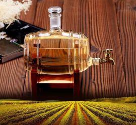 工艺酒瓶造型玻璃瓶酒桶醒酒器