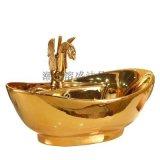 歐式金色鍍金臺上陶瓷元寶洗手盆