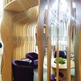 星巴克咖啡廳定製木紋弧形方通,弧形方通幕牆