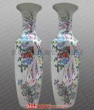 青花瓷迎客松花瓶 厂家定做陶瓷花瓶 新年礼品花瓶