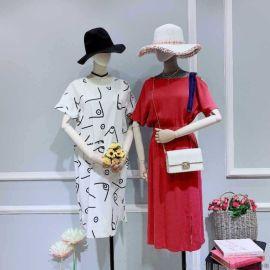 杭州棉麻女装品牌大全幕拉库存尾货服装女式T恤达衣岩女装