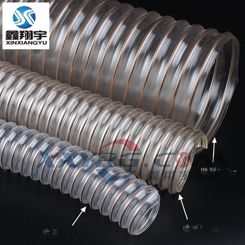 耐低温耐磨木工CNC雕刻机除尘通风吸尘软管,聚氨脂pu钢丝吸尘软管