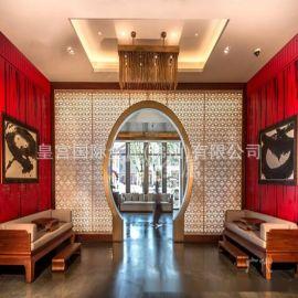 玄關隔斷 酒店歐式餐廳屏風隔斷 拉絲黃古銅屏風