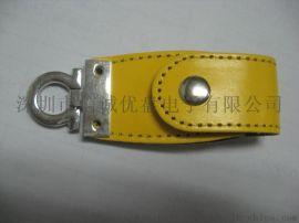 黄颜色皮套u盘定制 创意礼品 黄 礼品u盘 真皮USB随身碟