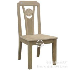 恒岳家具实木白坯现代中式家具高档会所食堂餐饮 红橡木白茬餐椅