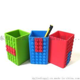 积木造型多彩硅胶笔筒 硅胶办公文具礼品定制