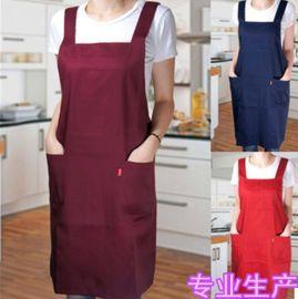 韩版时尚围裙定制logo超市广告火锅店厨房水果网咖服务员围腰印字