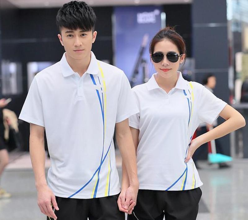 供应夏季情侣短袖运动套装涤纶翻领短裤情侣运动服修身T恤套装