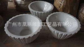 广州新款玻璃钢花盆定制厂家 坑纹效果玻璃钢花盆组合 美城花器