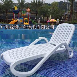 白色加厚塑料躺椅户外休闲折叠躺椅ABS塑料躺椅