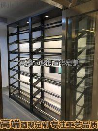 欧式不锈钢酒柜定制 新款家装恒温酒柜案例 玫瑰金
