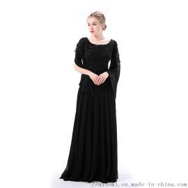 新款蝙蝠袖宴会晚礼服2019新款长款连衣裙厂家直销