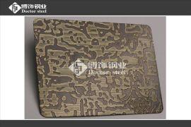 厂家直供201不锈钢青古铜拉丝蚀刻**纹,不锈钢镀铜厂,不锈钢镀铜蚀刻花纹板