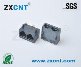 ZXCNT双口RJ45全塑无灯网口母座接插件