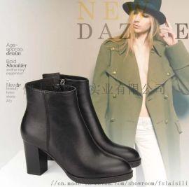 莱思丽时尚牛皮舒适粗跟圆头女短靴