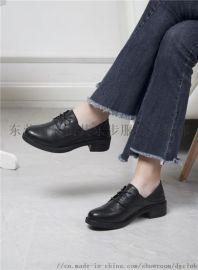 新款韩版学院风小皮鞋女粗跟浅口单鞋真皮系带女鞋