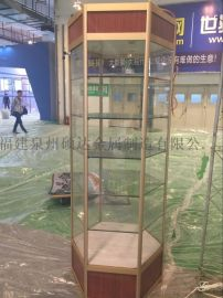 福建货架精品钛合金旋转展示柜六角柜