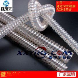 厂家批发耐磨透明工业吸尘集尘除尘pu镀铜钢丝伸缩软管,除尘风管