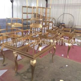 深圳大酒店金属制品定制加工、 不锈钢家具制品、钛金圆几架、古铜茶几、玫瑰金家具