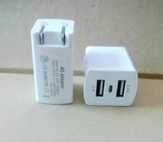 UL认证 双USB充电器 折叠美规插脚电源充电器 美规插头充电器 智能手机充电器